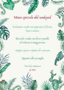 Il menu del weekend